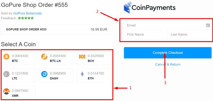 kratom bitcoin payment with Coinpayment at Gopure shop